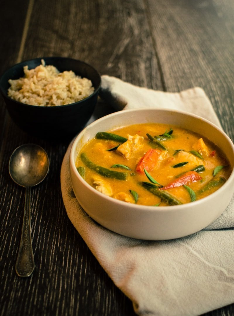 This hearty and flavorful recipe for Pumpkin Curry with Chicken merges seasonal fall color with bold Thai flavor to warm you from the inside out!