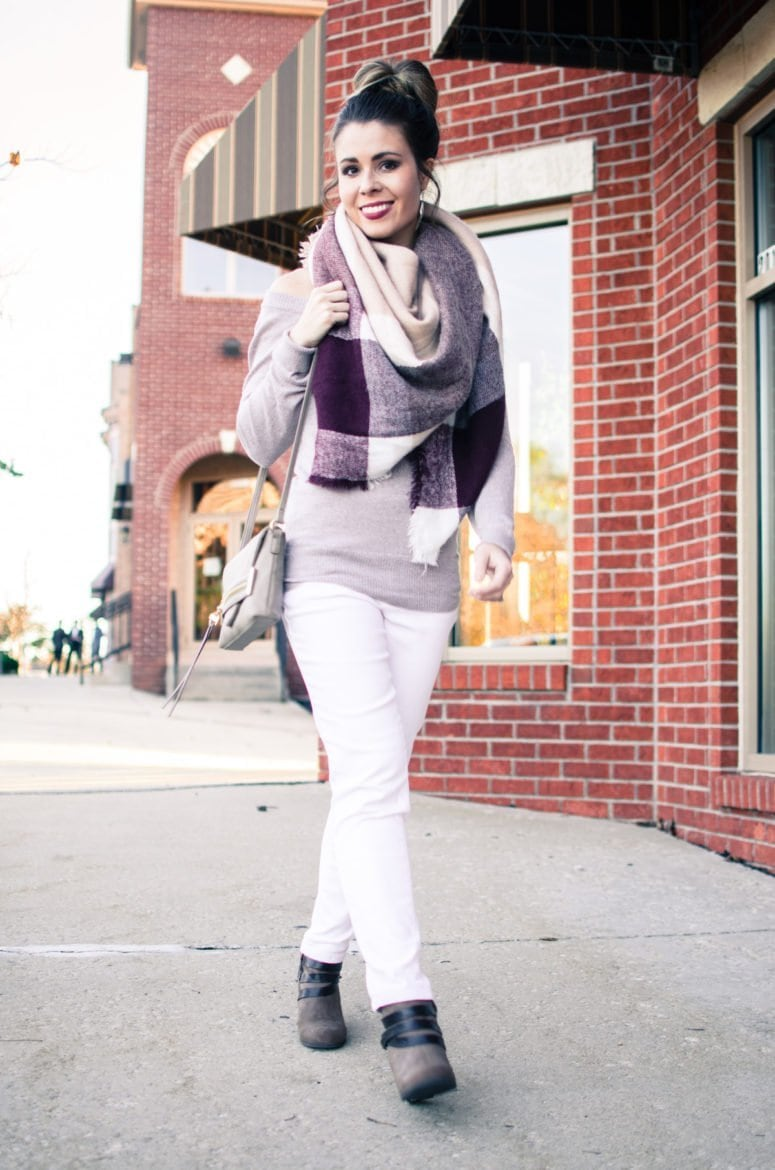 Sweet Chic: Taupe, Blanket Scarf, and White Jeans