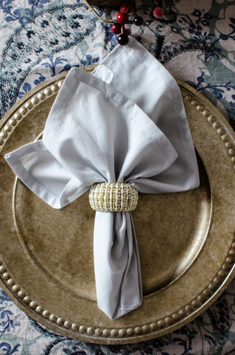 Charger, napkins, and napkin ring are all from Home Goods and can be used year round