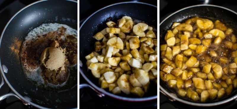 Photo collage of prepping bananas foster.