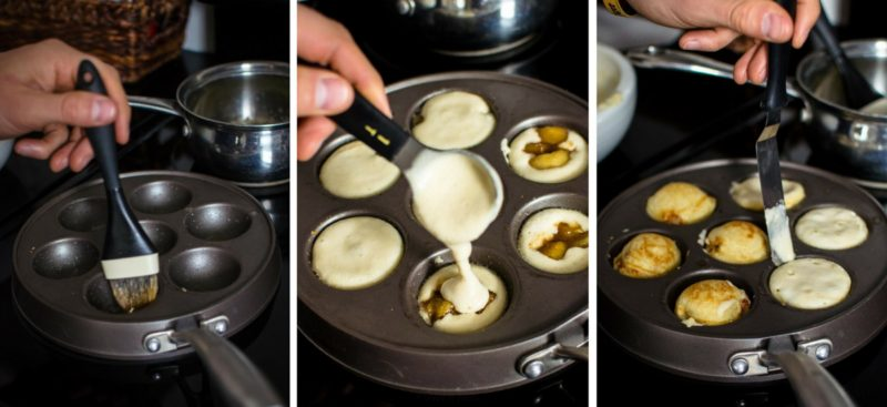 Photo collage of filling the Ebelskivers pan and adding filling to each mini-pancake.