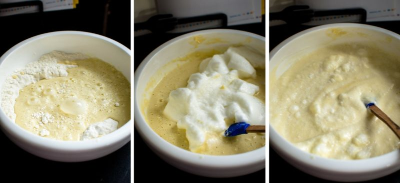 Photo collage of prepping Ebelskivers batter.