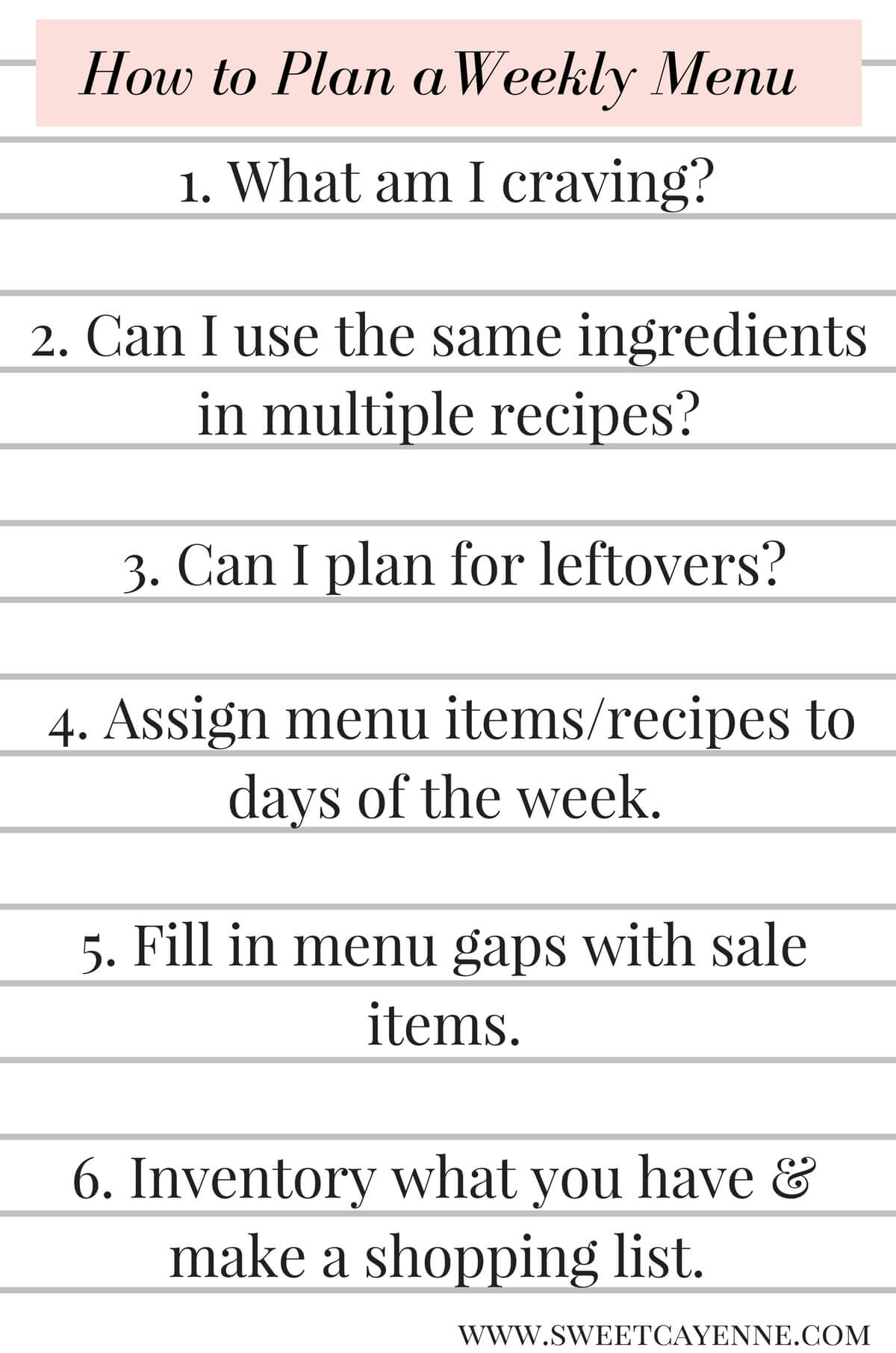 Meal Planning 101 - see my tips, tricks and strategies in this tutorial and plan a week of food you love! Menu planning and prep tips