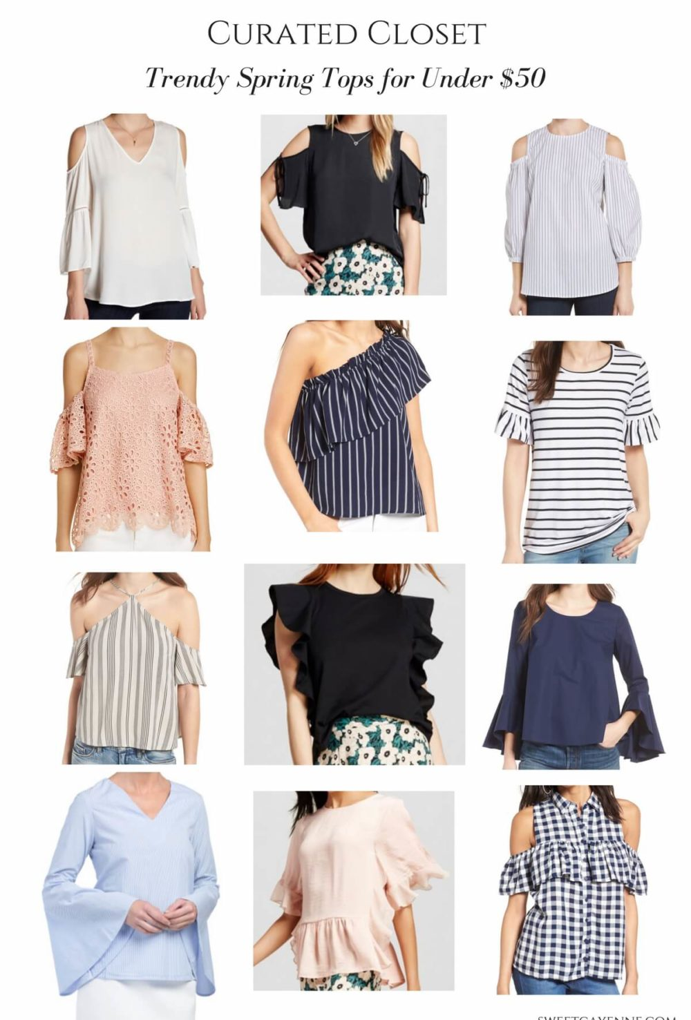 The ultimate guide to trendy spring tops for 2017 - 12 options and all under $50! Spring fashion shopping guide.