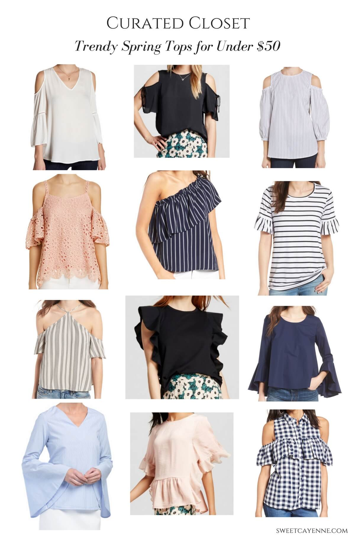 The ultimate guide to trendy 2017 tops - 12 options and all under $50! Spring shopping guide.
