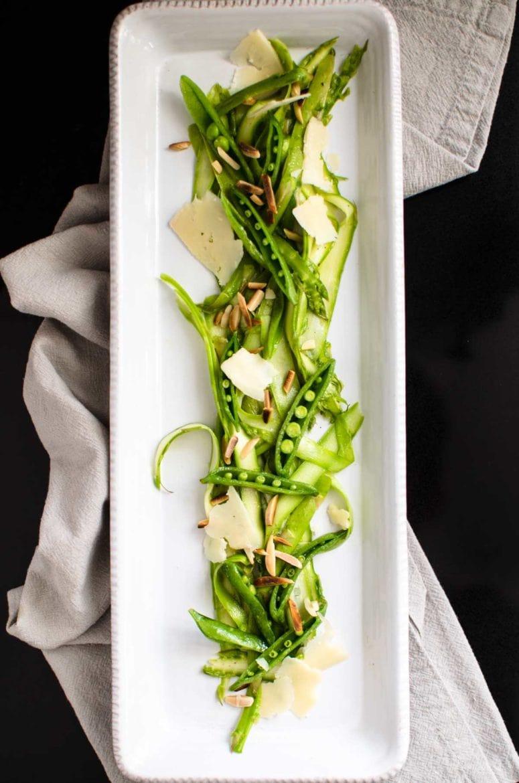 Shaved asparagus salad on a serving dish.