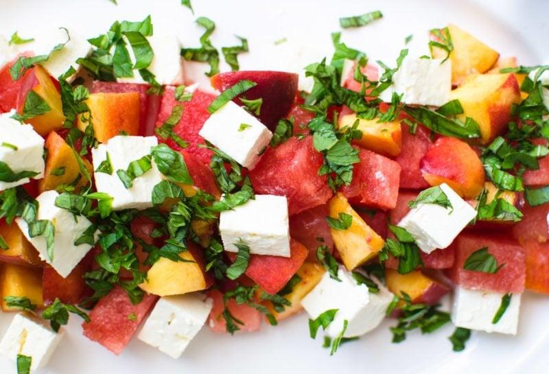Diced feta, watermelon, peaches, and basil.