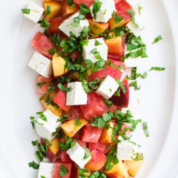 This simple recipe for Cubed Watermelon, Peach and Feta Salad can be put together in minutes but makes for such an elegant and refreshing side dish!