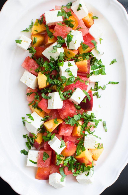 Cubed Watermelon, Peach and Feta Salad.