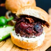 Get ready to take your slider game to the level of flavor explosion with a salty + smoky + sweet comb. This recipe for Jalapeño Cream Cheese Sliders id here and oozing with strawberry jam and a crispy bacon crunch!