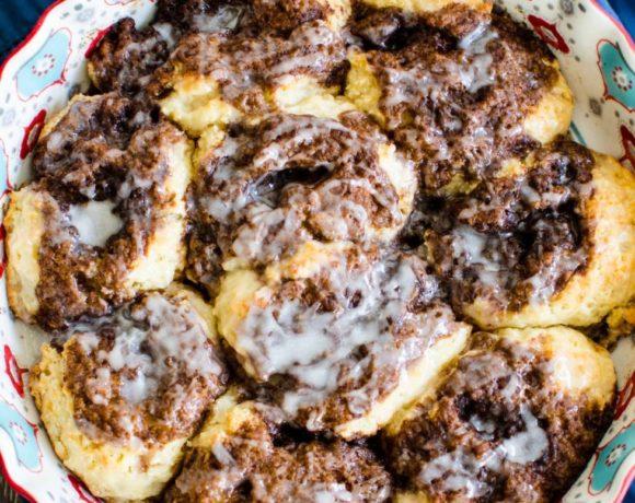 Cinnamon Drop Biscuits with Eggnog Glaze