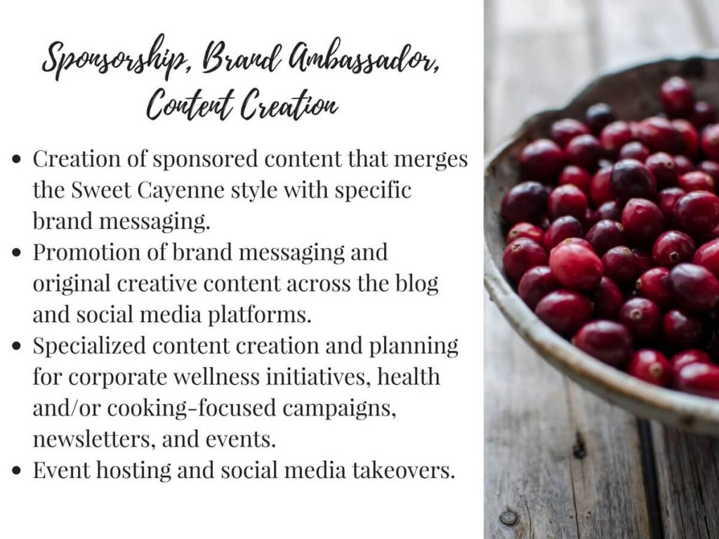 Sweet Cayenne Consulting services page for brands and marketing agencies - Whitney Reist, culinary dietitian in Nashville, TN.