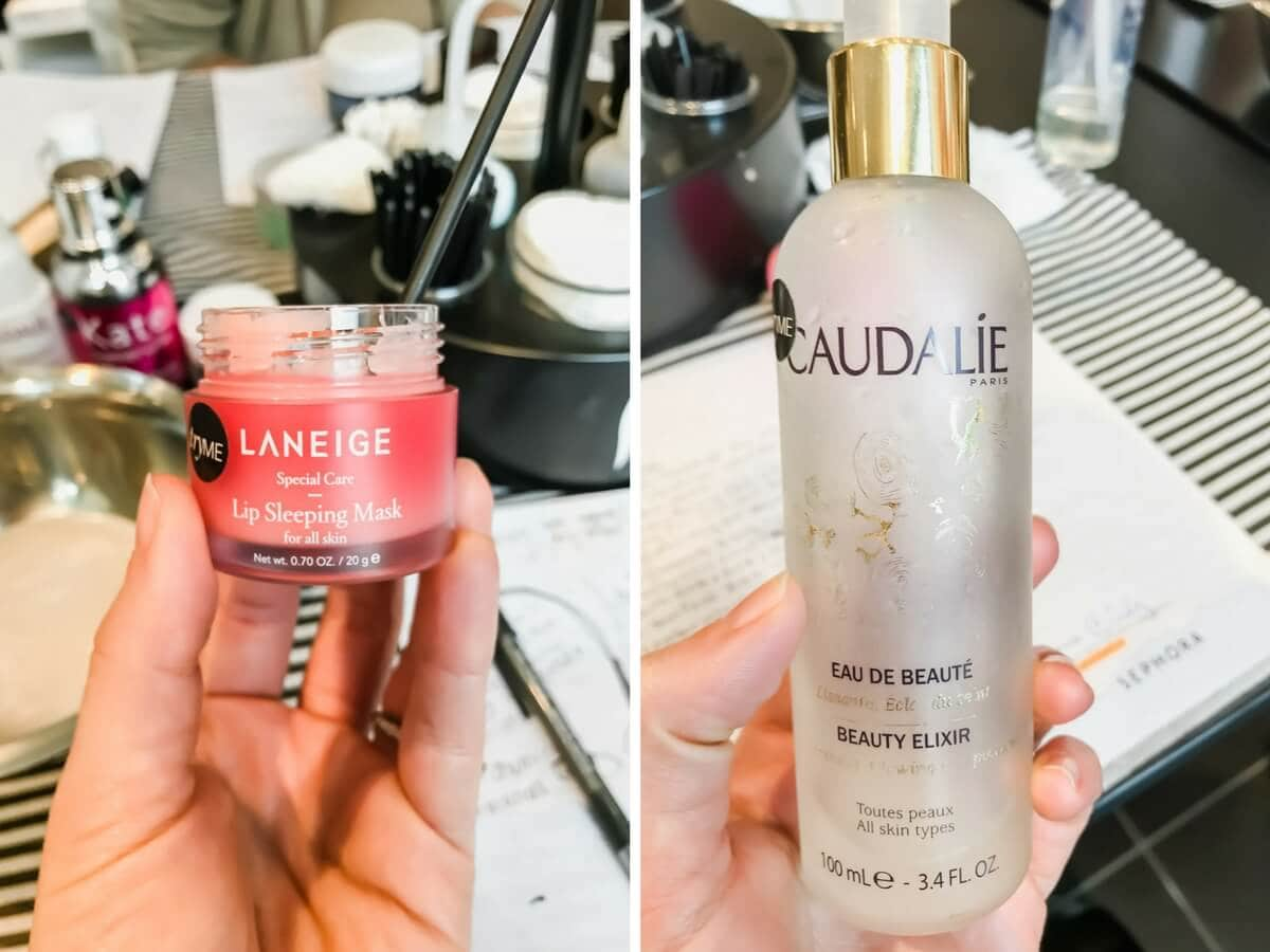 Two pictures - Left picture - Laniege sleeping mask. Right picture - Caudalie beauty elixir.