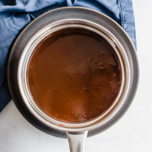 Overhead view of a pot of chocolate gravy.