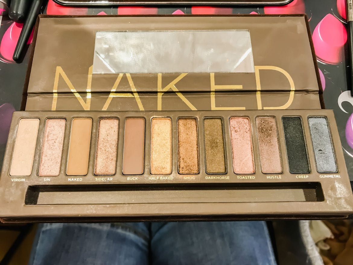 Naked face makeup pallet with 12 colors of makeup.