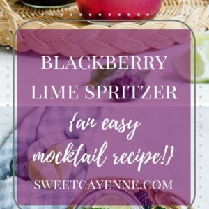 Long vertical Pinterest image of a blackberry drink in Mason jars with mint sprigs, lime slices, and blackberries with purple text overlay.