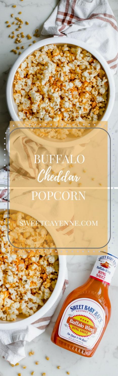 A long Pinterest picture collage of two photos with a bowl of Buffalo Cheddar Popcorn with recipe title text overlay.