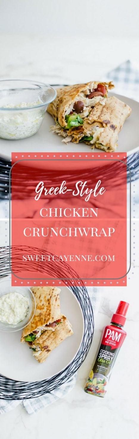 A long photo collage for Pinterest of Greek-Style Chicken Crunchwraps.