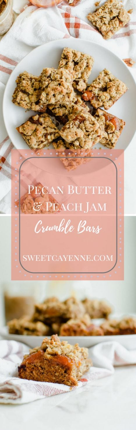 These Pecan Butter and Peach Jam Crumble Bars are my go-to cookie recipe right now for summer picnics, snacks, and a unique take on the traditional peanut butter and jelly bar! #crumblebars #peachjam #jambar #pecans #pecanbutter
