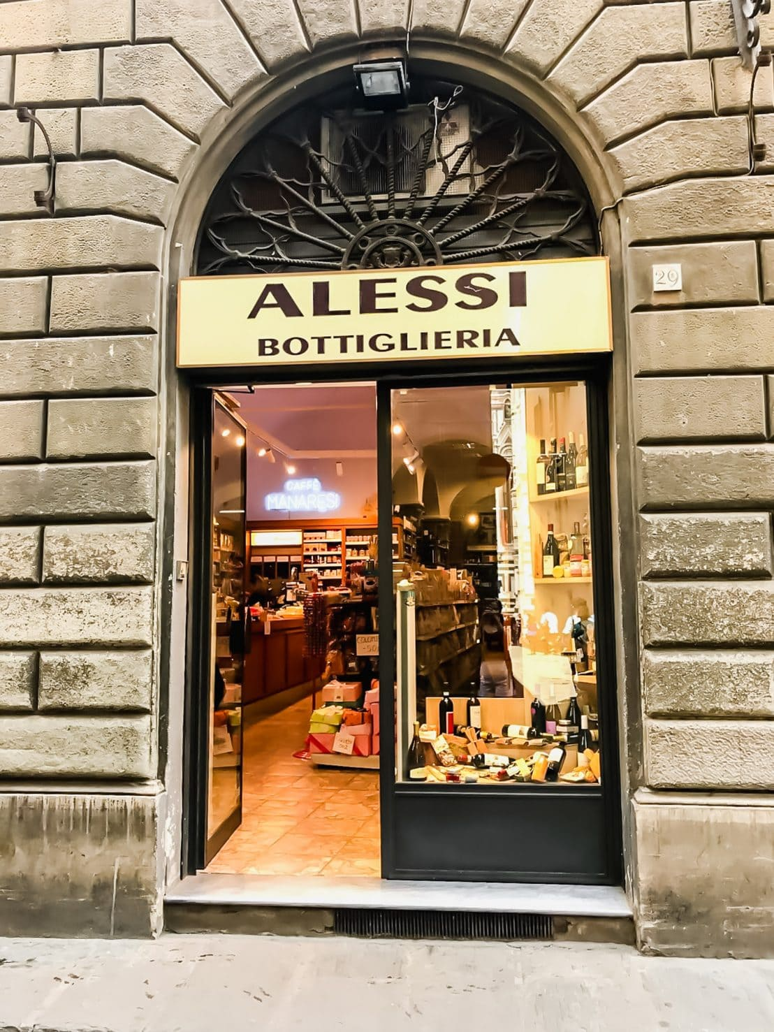 A shot of the store opening for enoteca Alessi in Florence, Italy.