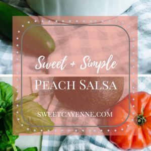 A long Pinterest pin collage with photos of Peach Salsa.