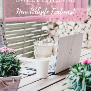 A graphic with text for Pinterest with a laptop and coffee mug sitting on a table outside.