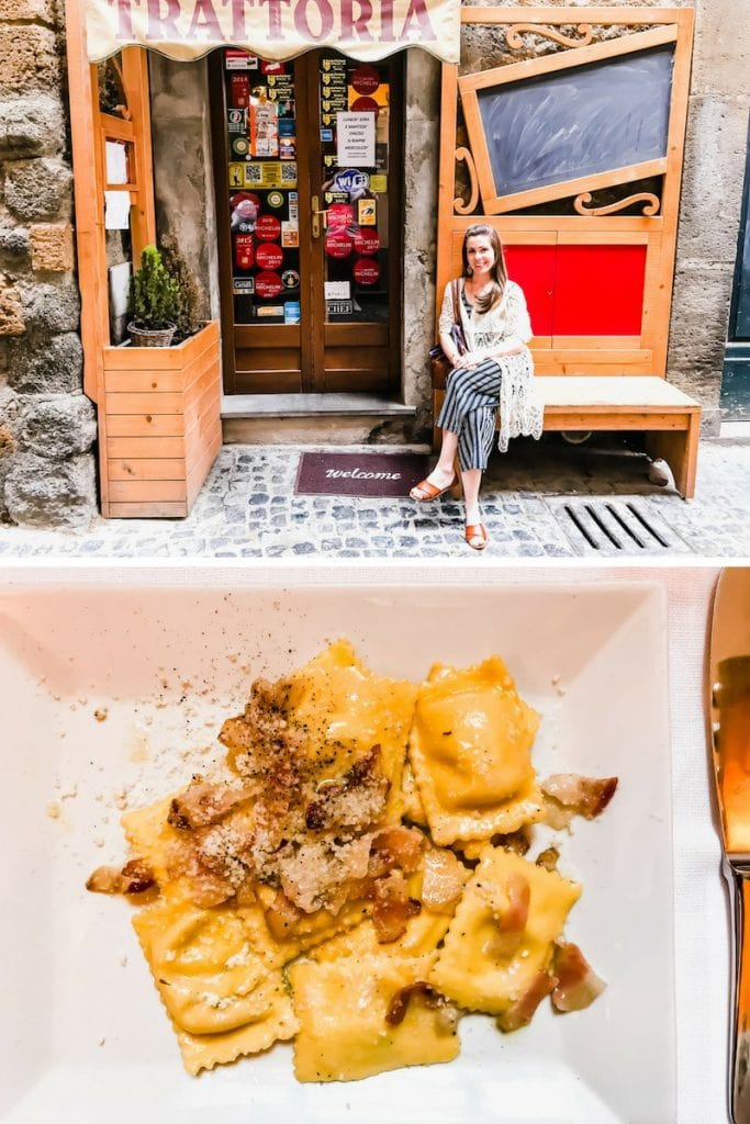 A photo collage of pasta at Trattoria del Morro in Orvieto, Italy