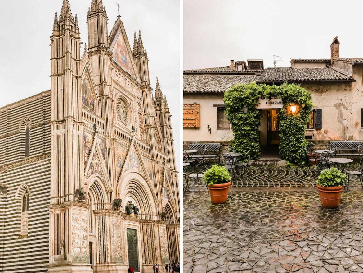 A photo collage of the cathedral in Orvieto.