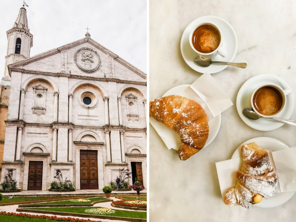A photo collage of the cathedral front in Pienza, Italy and a table with croissants.