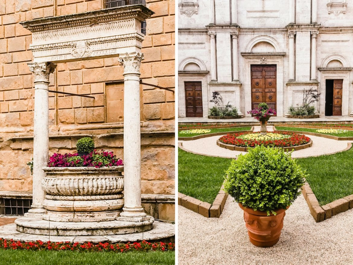 A photo collage of the cathedral grounds in Pienza, Italy