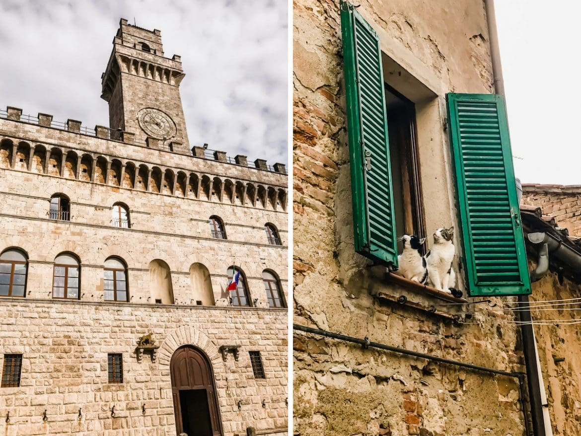 A photo collage of a castle and cats in a windowsill in Montepulciano, Italy