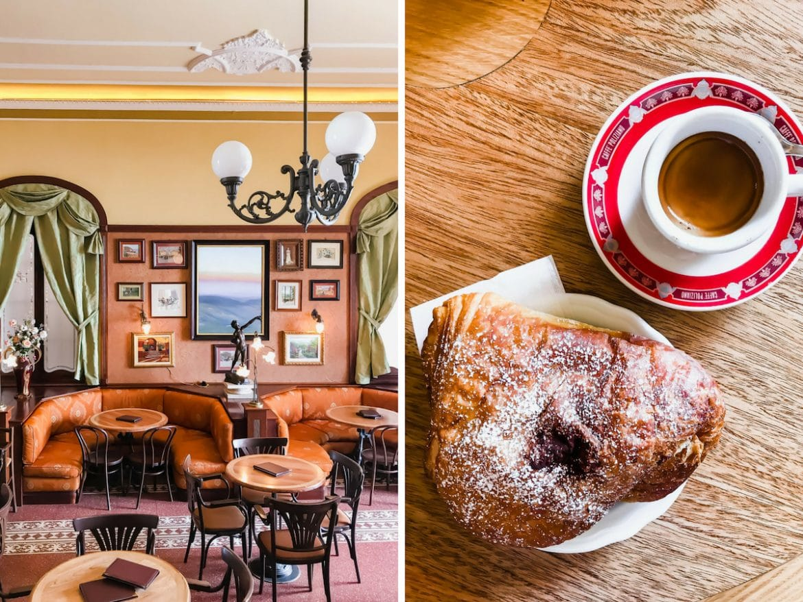 A photo collage of a cafe, croissants and coffee at a cafe in Italy.
