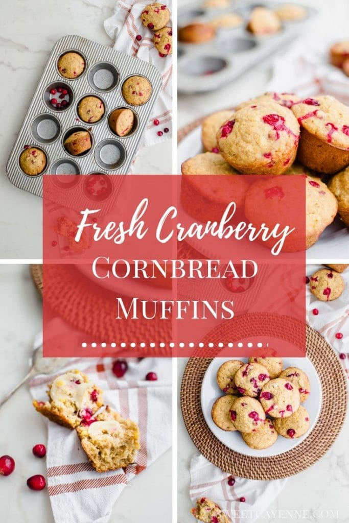 A collage of photos of cranberry cornbread muffins with Pinterest text overlay.