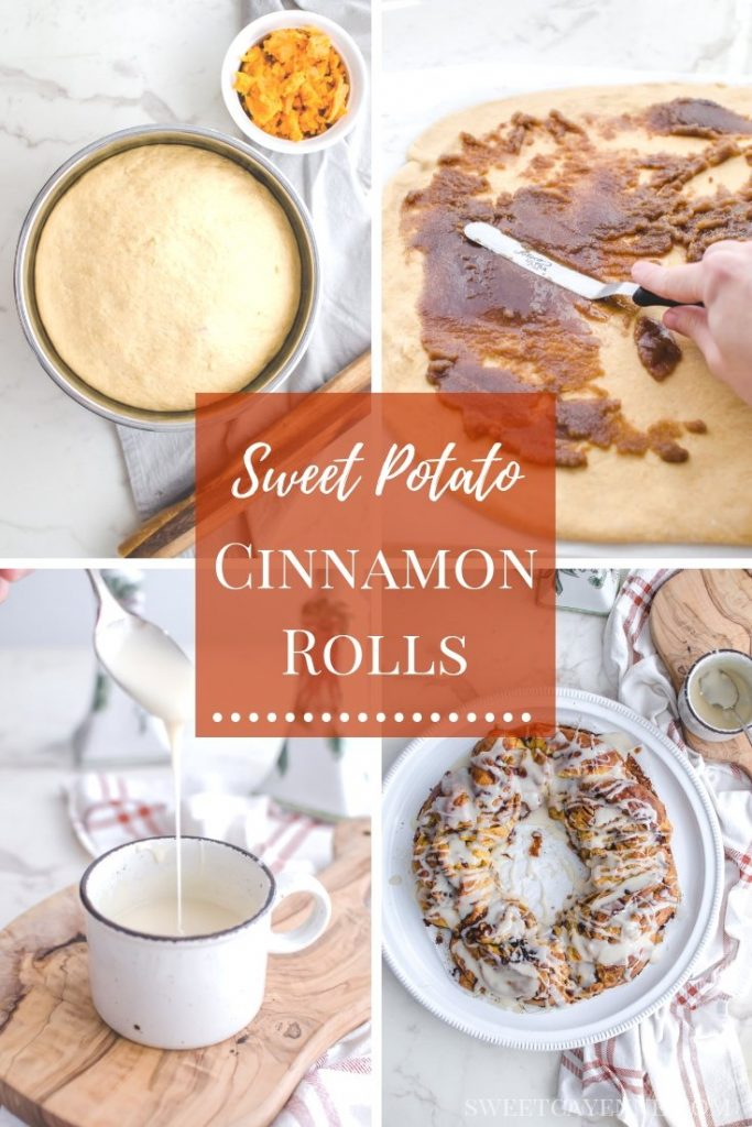 A Pinterest collage showing the process of making sweet potato cinnamon rolls.