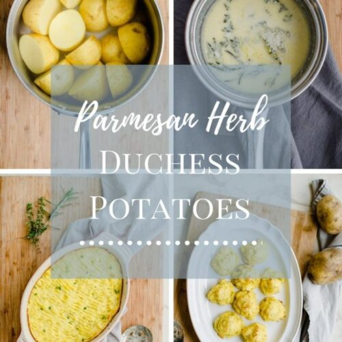 A collage of Duchess potato photos with text overlay.