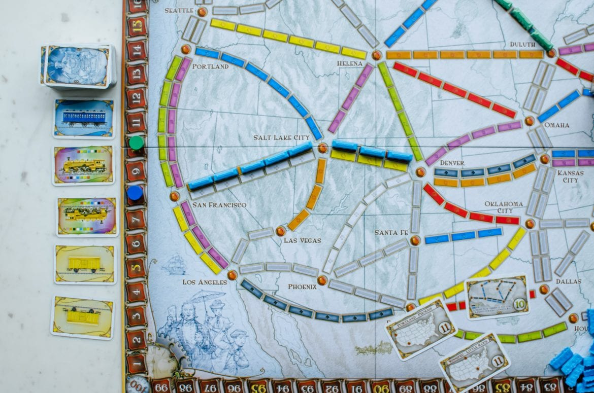 The Ticket to Ride board game set up.