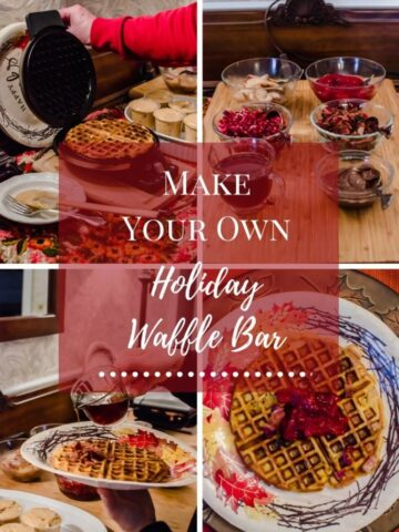 A collage of photos for a make-ahead waffle bar.