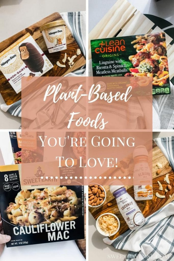 A picture collage of plant-based convenience foods.