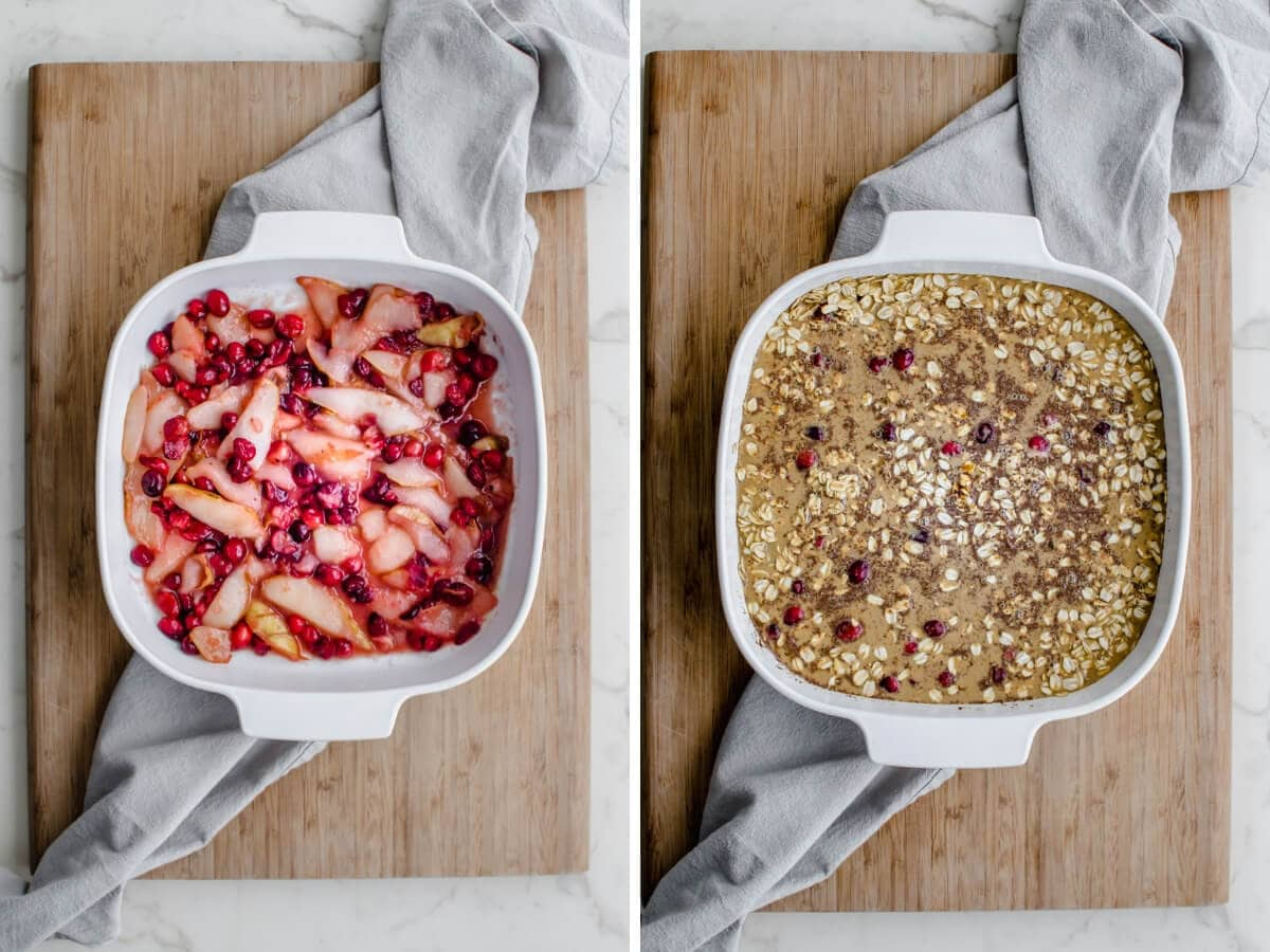 A side by side collage of the process of making gingerbread baked oatmeal.