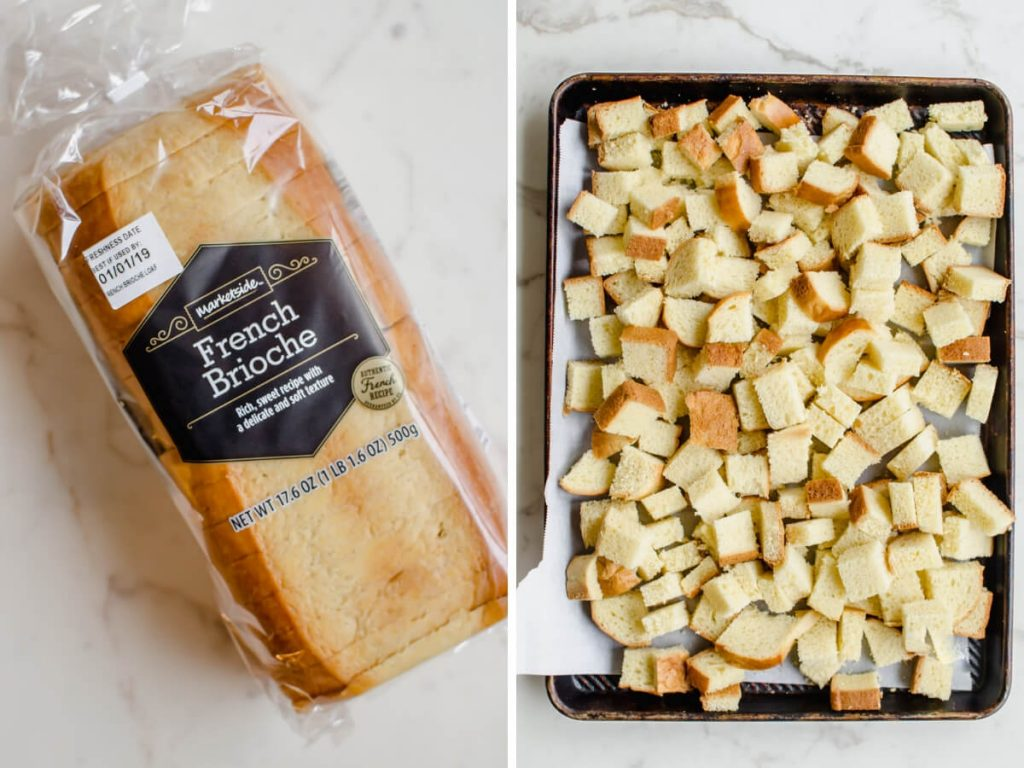 A photo collage of a loaf of brioche bread and bread cubes on a baking sheet.