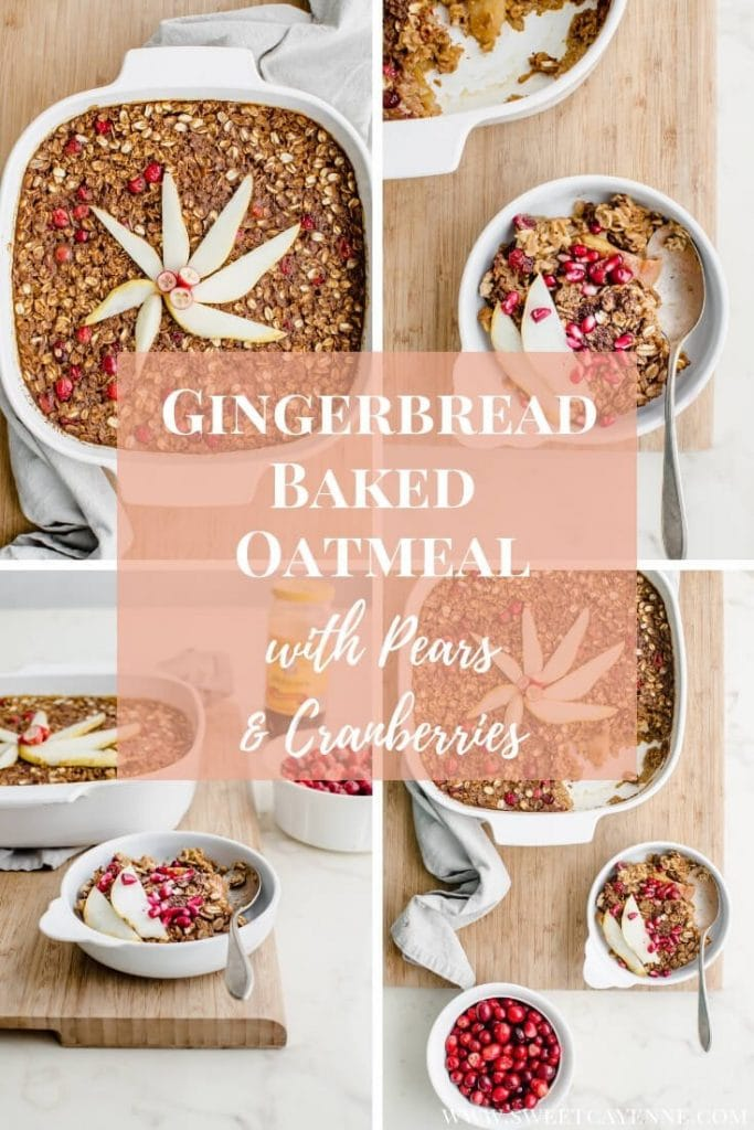 A collage of photos of gingerbread baked oatmeal in white dishes.