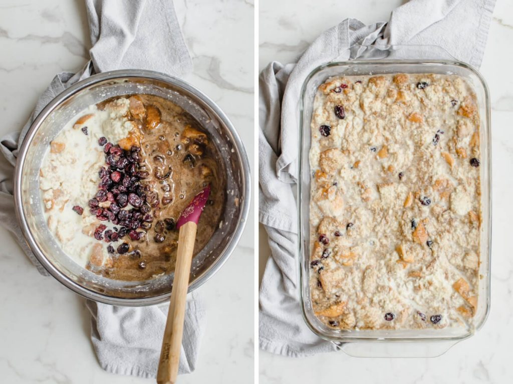 A photo collage with process shots of bread pudding being made.