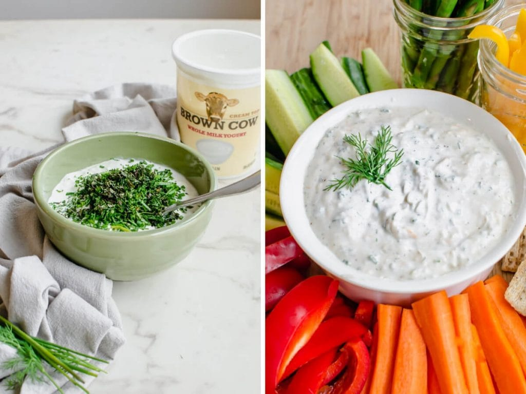 Process shots of creamy Parmesan herb dip being made with vegetables on the side.