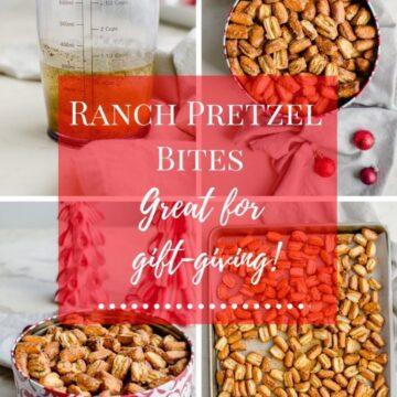 A photo collage of Ranch Pretzel Bites.
