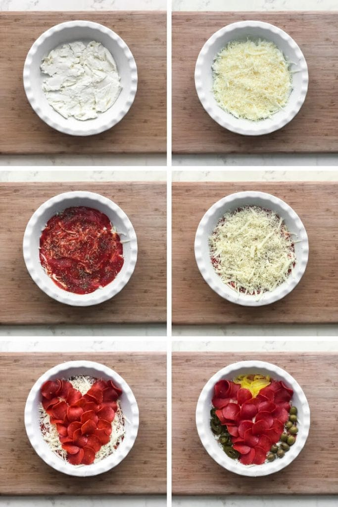 A collage of images with a white dish on a cutting board and steps for filling it with pizza dip.