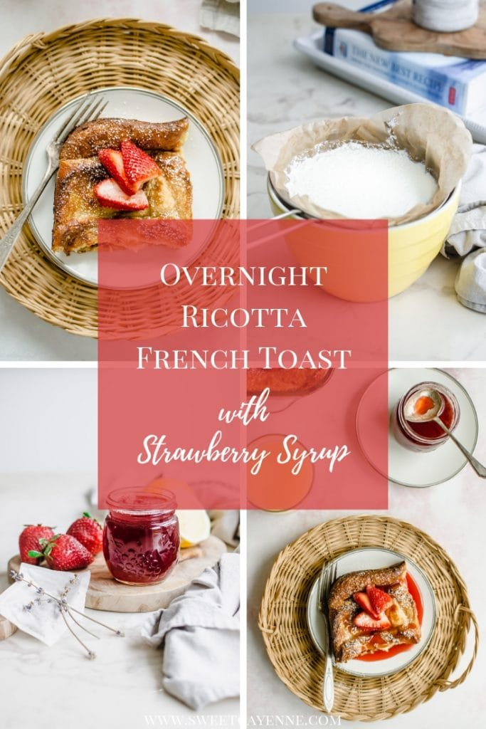 A Pinterest collage with images for overnight ricotta French toast.