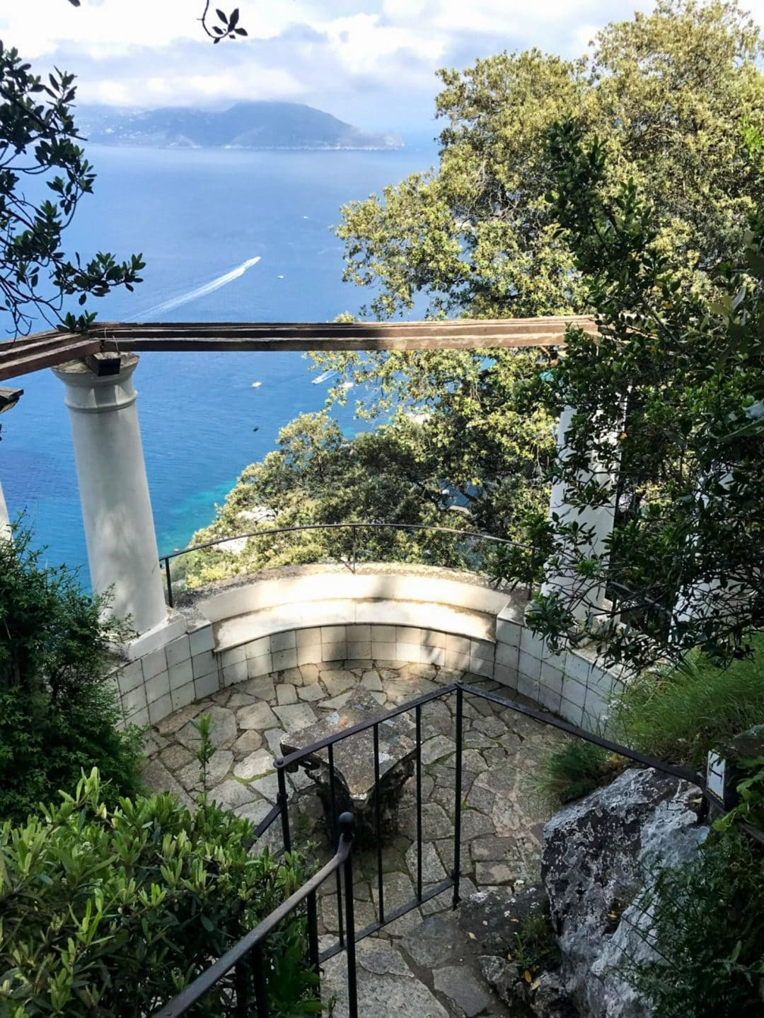 A Capri garden looking down on the Mediterranean sea.