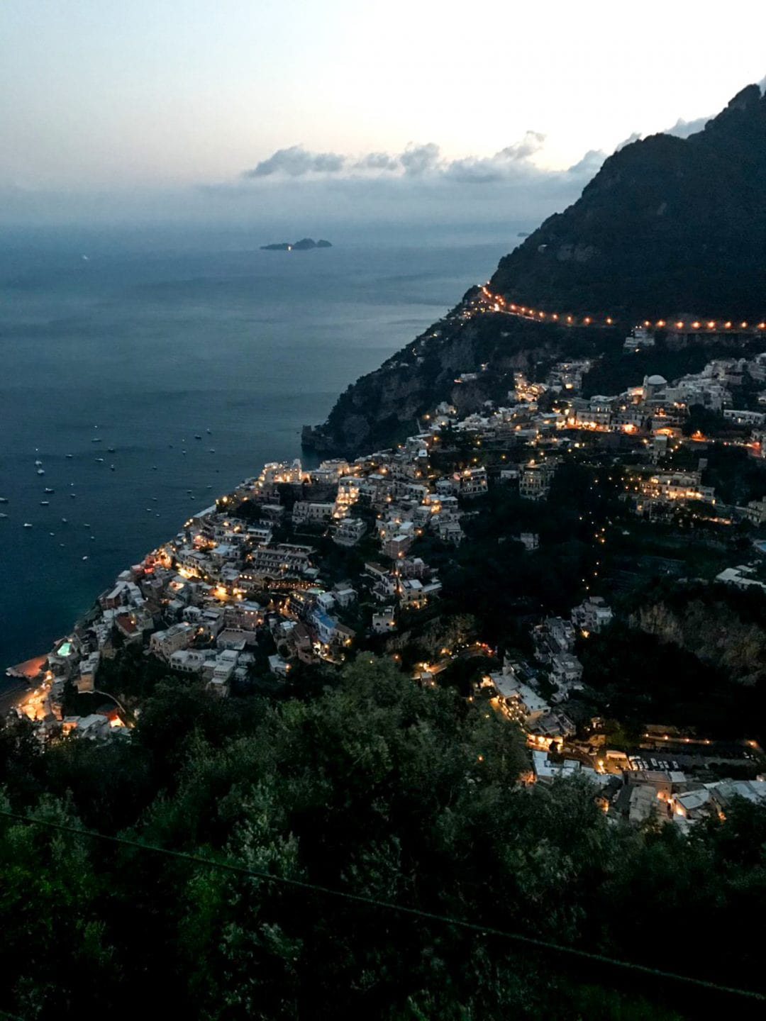 Positano viewed from above - a night scene.