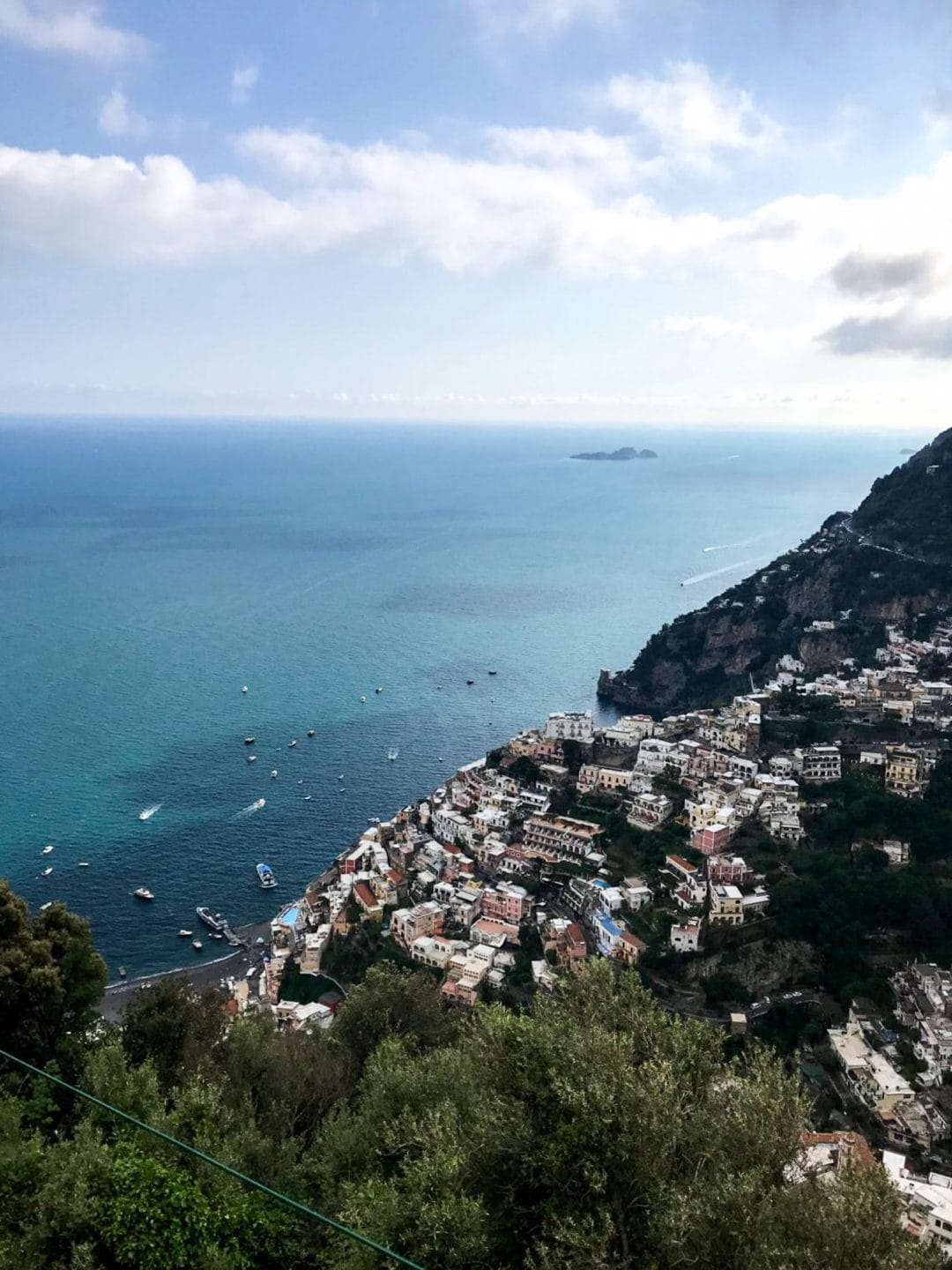 An overhead view of Positano.