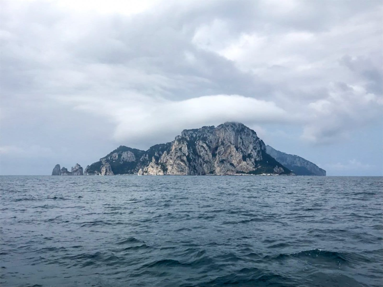 Capri Island viewed from the ocean.